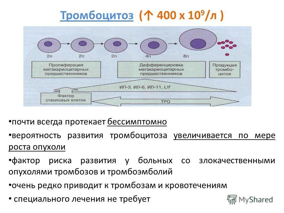 Тромбоцитоз ( 400 х 10 9 /л ) почти всегда протекает бессимптомно вероятность развития тромбоцитоза увеличивается по мере роста опухоли фактор риска развития у больных со злокачественными опухолями тромбозов и тромбоэмболий очень редко приводит к тро
