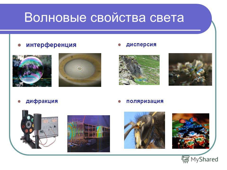 Волновые свойства света интерференция дисперсия дифракция поляризация