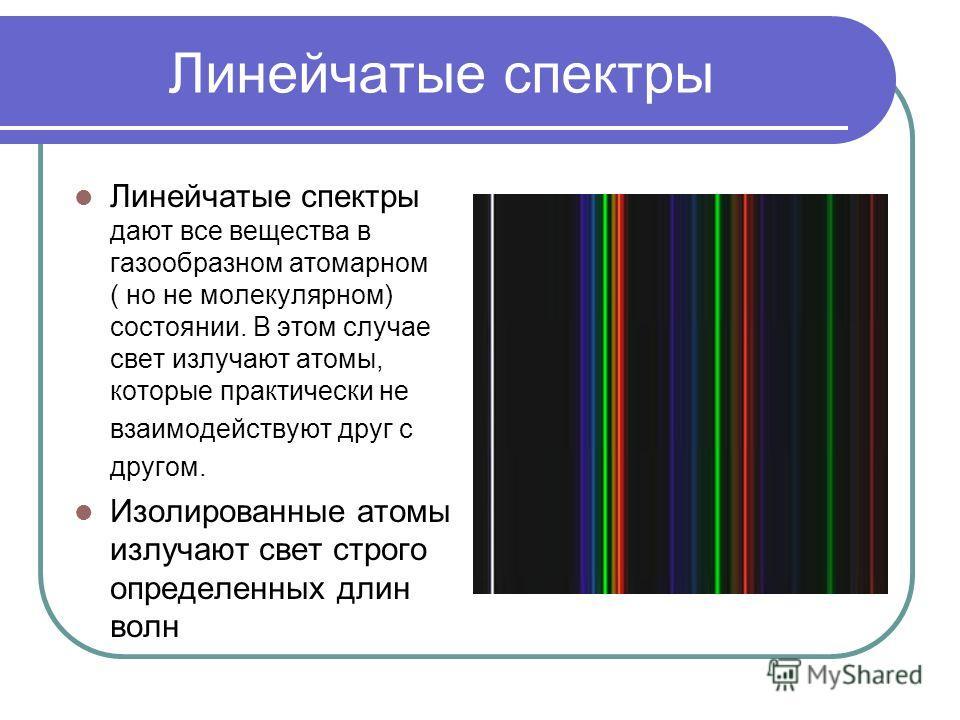 Линейчатые спектры Линейчатые спектры дают все вещества в газообразном атомарном ( но не молекулярном) состоянии. В этом случае свет излучают атомы, которые практически не взаимодействуют друг с другом. Изолированные атомы излучают свет строго опреде