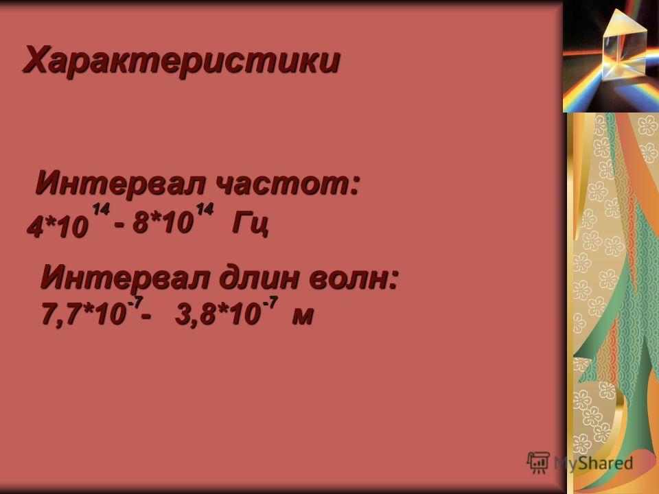 Характеристики Интервал частот: Интервал частот:4*10 14 - 8*10 14 Гц Интервал длин волн: 7,7*10 - 3,8*10 м -7-7