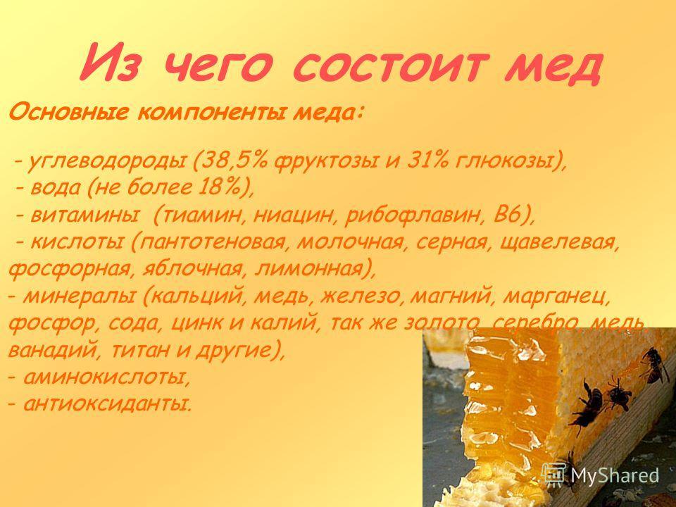Из чего состоит мед Основные компоненты меда: - углеводороды (38,5% фруктозы и 31% глюкозы), - вода (не более 18%), - витамины (тиамин, ниацин, рибофлавин, В6), - кислоты (пантотеновая, молочная, серная, щавелевая, фосфорная, яблочная, лимонная), - м