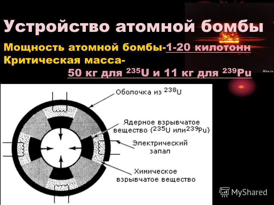 Устройство атомной бомбы Мощность атомной бомбы-1-20 килотонн Критическая масса- 50 кг для 235 U и 11 кг для 239 Pu