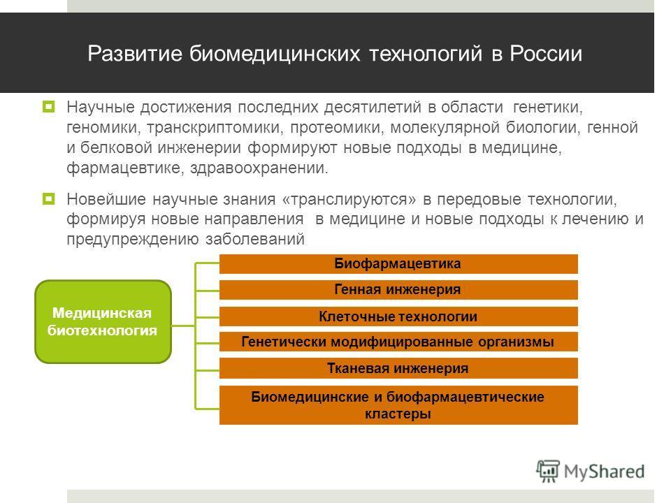 Развитие биомедицинских технологий в России Научные достижения последних десятилетий в области генетики, геномики, транскриптомики, протеомики, молекулярной биологии, генной и белковой инженерии формируют новые подходы в медицине, фармацевтике, здрав