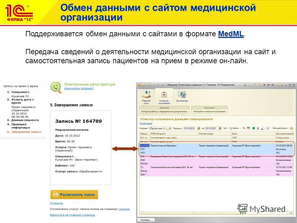 Обмен данными с сайтом медицинской организации MedML Поддерживается обмен данными с сайтами в формате MedML. Передача сведений о деятельности медицинской организации на сайт и самостоятельная запись пациентов на прием в режиме он-лайн.