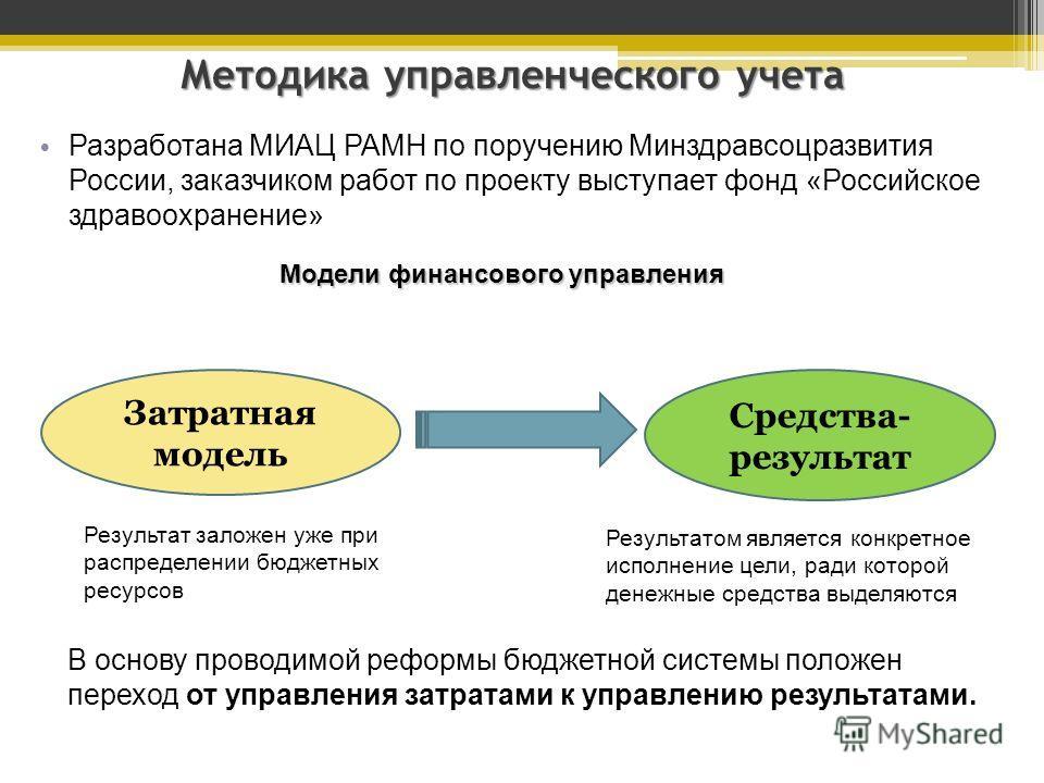 Методика управленческого учета Разработана МИАЦ РАМН по поручению Минздравсоцразвития России, заказчиком работ по проекту выступает фонд «Российское здравоохранение» Затратная модель Средства- результат Результат заложен уже при распределении бюджетн