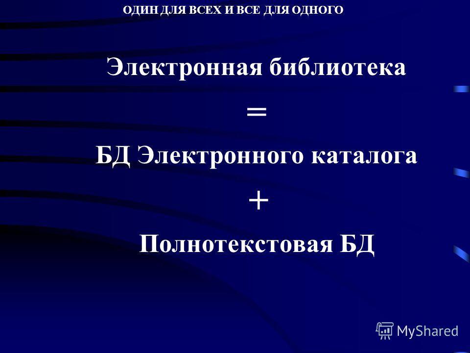 Электронная библиотека = БД Электронного каталога + Полнотекстовая БД ОДИН ДЛЯ ВСЕХ И ВСЕ ДЛЯ ОДНОГО