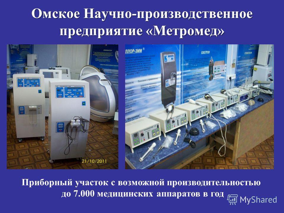 Омское Научно-производственное предприятие «Метромед» Приборный участок с возможной производительностью до 7.000 медицинских аппаратов в год