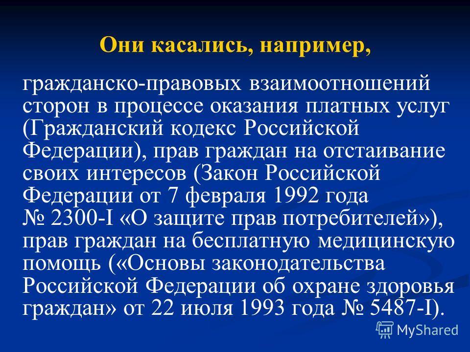 гражданско-правовых взаимоотношений сторон в процессе оказания платных услуг (Гражданский кодекс Российской Федерации), прав граждан на отстаивание своих интересов (Закон Российской Федерации от 7 февраля 1992 года 2300-I «О защите прав потребителей»
