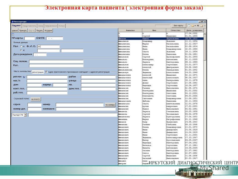 Электронная карта пациента ( электронная форма заказа)