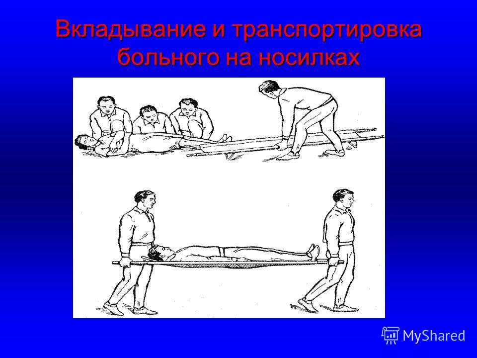 Вкладывание и транспортировка больного на носилках