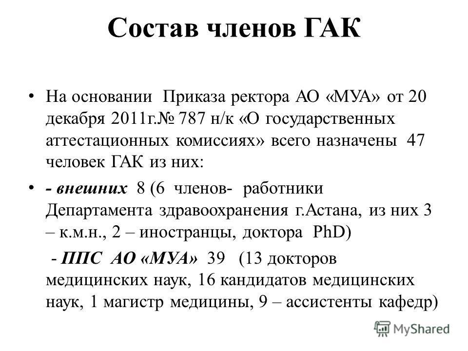 Состав членов ГАК На основании Приказа ректора АО «МУА» от 20 декабря 2011г. 787 н/к «О государственных аттестационных комиссиях» всего назначены 47 человек ГАК из них: - внешних 8 (6 членов- работники Департамента здравоохранения г.Астана, из них 3