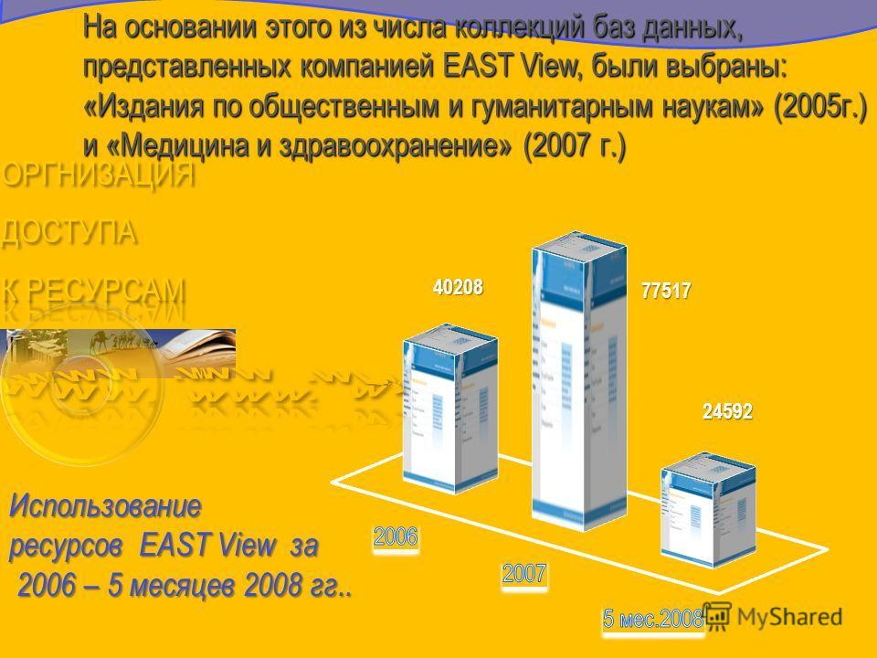 На основании этого из числа коллекций баз данных, представленных компанией EAST View, были выбраны: «Издания по общественным и гуманитарным наукам» (2005г.) и «Медицина и здравоохранение» (2007 г.)