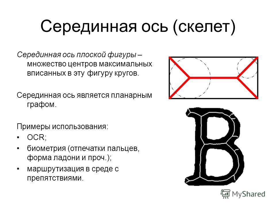 Серединная ось (скелет) Серединная ось плоской фигуры – множество центров максимальных вписанных в эту фигуру кругов. Серединная ось является планарным графом. Примеры использования: OCR; биометрия (отпечатки пальцев, форма ладони и проч.); маршрутиз