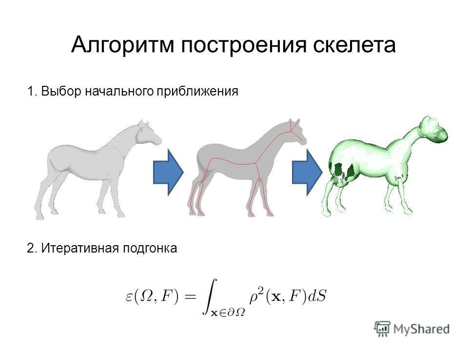 Алгоритм построения скелета 1. Выбор начального приближения 2. Итеративная подгонка