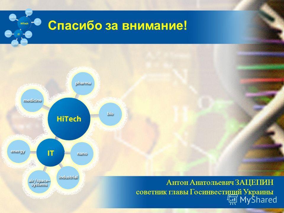 Антон Анатольевич ЗАЦЕПИН советник главы Госинвестиций Украины Спасибо за внимание!