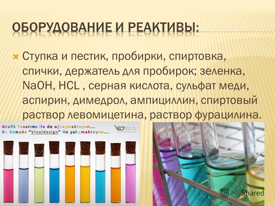 Ступка и пестик, пробирки, спиртовка, спички, держатель для пробирок; зеленка, NaOH, HCL, серная кислота, сульфат меди, аспирин, димедрол, ампициллин, спиртовый раствор левомицетина, раствор фурацилина.