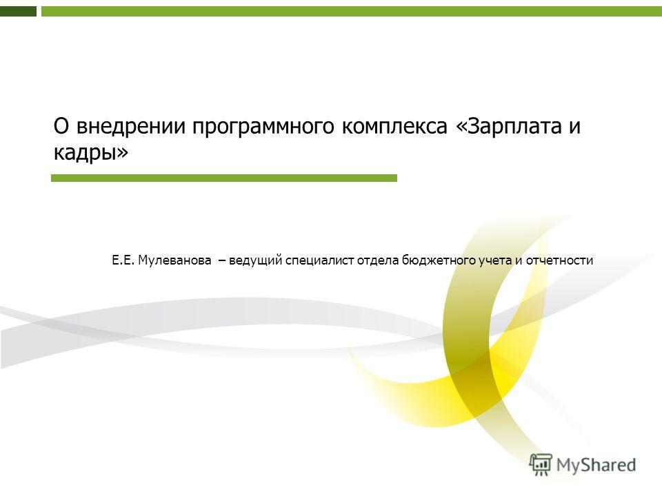 О внедрении программного комплекса «Зарплата и кадры» Е.Е. Мулеванова – ведущий специалист отдела бюджетного учета и отчетности