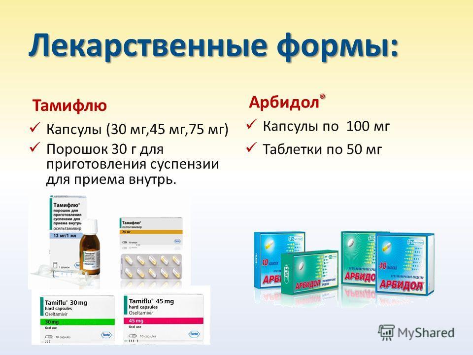 Лекарственные формы: Тамифлю Капсулы (30 мг,45 мг,75 мг) Порошок 30 г для приготовления суспензии для приема внутрь. ® Арбидол ® Капсулы по 100 мг Таблетки по 50 мг