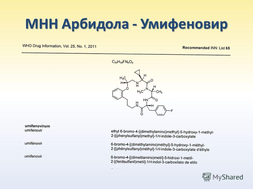 МНН Арбидола - Умифеновир