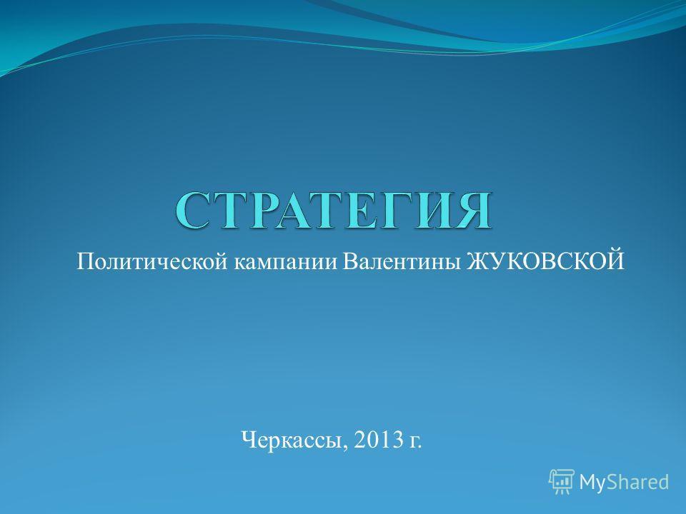 Политической кампании Валентины ЖУКОВСКОЙ Черкассы, 2013 г.