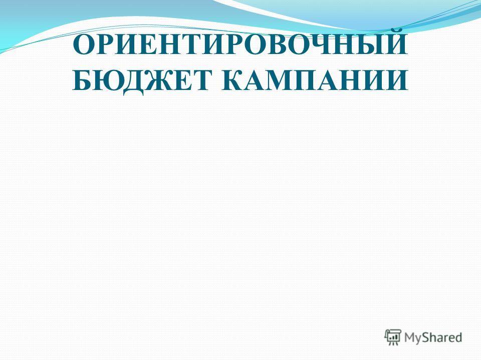 ОРИЕНТИРОВОЧНЫЙ БЮДЖЕТ КАМПАНИИ