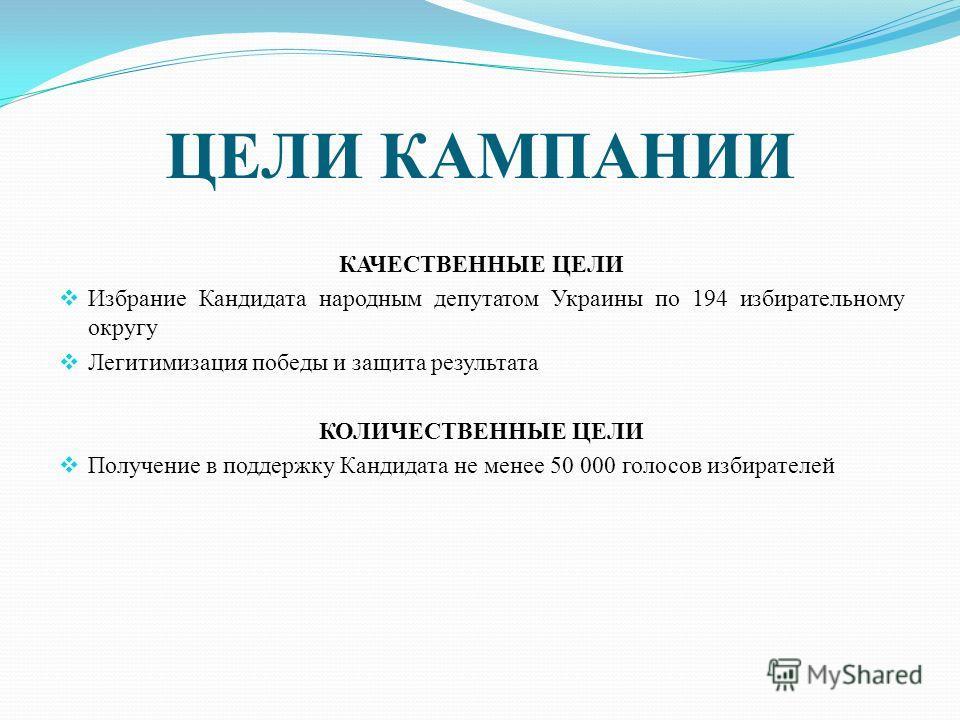 ЦЕЛИ КАМПАНИИ КАЧЕСТВЕННЫЕ ЦЕЛИ Избрание Кандидата народным депутатом Украины по 194 избирательному округу Легитимизация победы и защита результата КОЛИЧЕСТВЕННЫЕ ЦЕЛИ Получение в поддержку Кандидата не менее 50 000 голосов избирателей