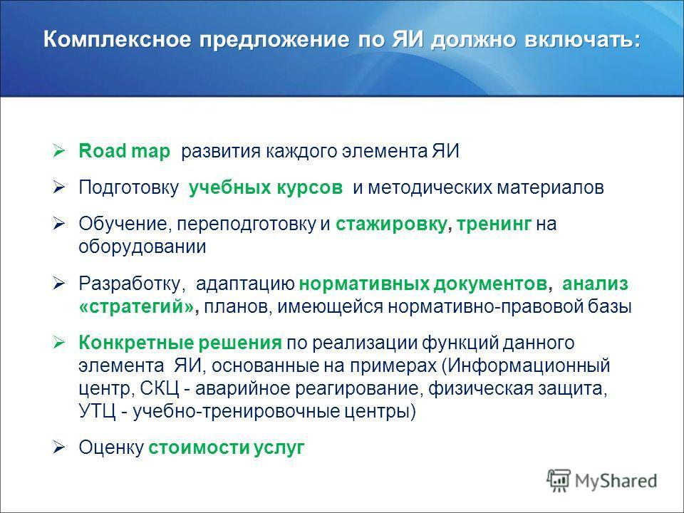 www.rosatom.ru Комплексное предложение по ЯИ должно включать: Road map развития каждого элемента ЯИ Подготовку учебных курсов и методических материалов Обучение, переподготовку и стажировку, тренинг на оборудовании Разработку, адаптацию нормативных д