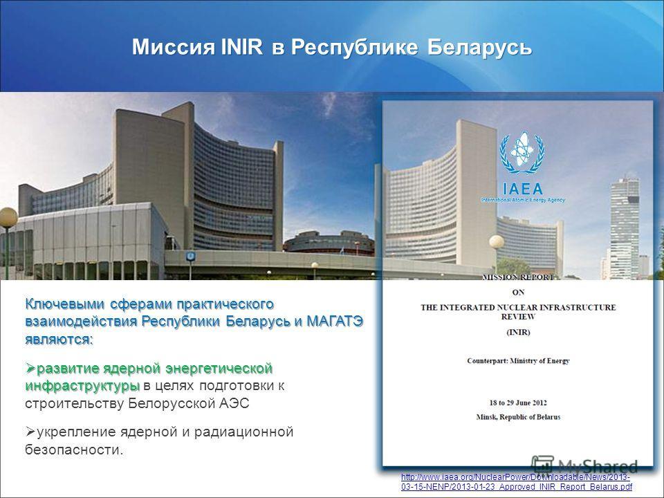 www.rosatom.ru Миссия INIR в Республике Беларусь http://www.iaea.org/NuclearPower/Downloadable/News/2013- 03-15-NENP/2013-01-23_Approved_INIR_Report_Belarus.pdf Ключевыми сферами практического взаимодействия Республики Беларусь и МАГАТЭ являются: раз