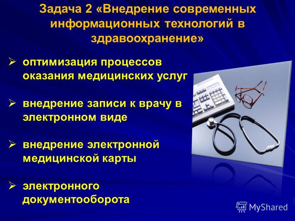 Задача 2 «Внедрение современных информационных технологий в здравоохранение» оптимизация процессов оказания медицинских услуг внедрение записи к врачу в электронном виде внедрение электронной медицинской карты электронного документооборота