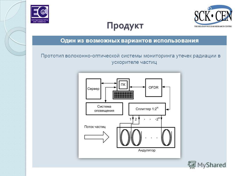 Прототип волоконно-оптической системы мониторинга утечек радиации в ускорителе частиц Продукт Один из возможных вариантов использования