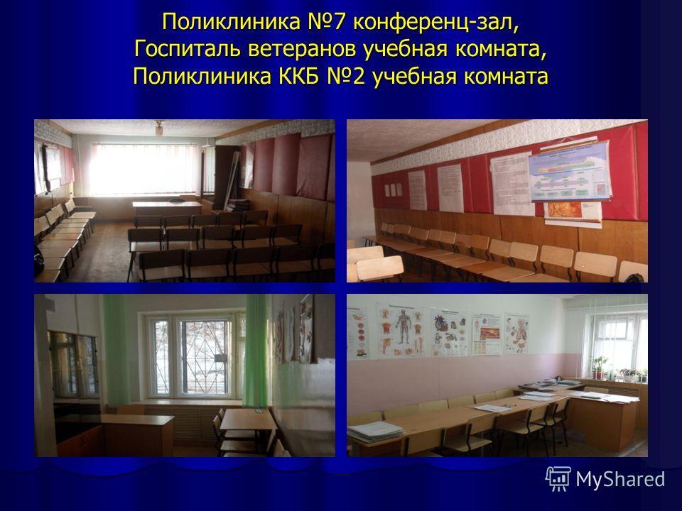Поликлиника 7 конференц-зал, Госпиталь ветеранов учебная комната, Поликлиника ККБ 2 учебная комната