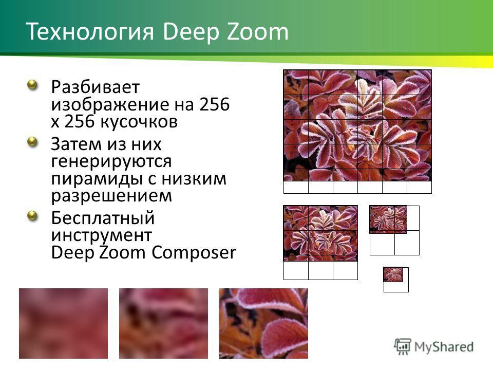 Разбивает изображение на 256 x 256 кусочков Затем из них генерируются пирамиды с низким разрешением Бесплатный инструмент Deep Zoom Composer