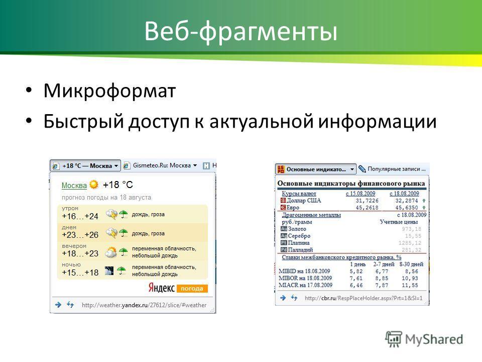 Веб-фрагменты Микроформат Быстрый доступ к актуальной информации