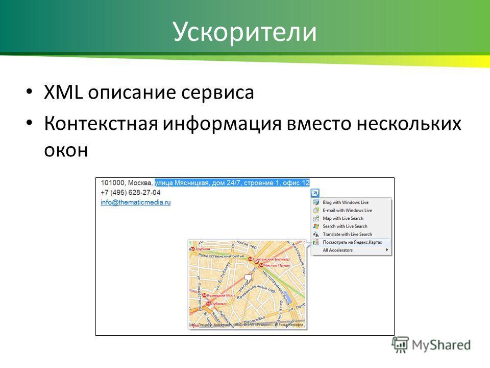 Ускорители XML описание сервиса Контекстная информация вместо нескольких окон