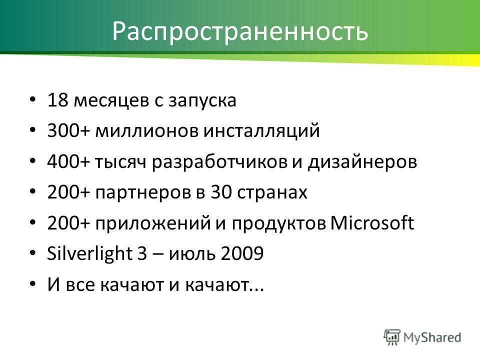 Распространенность 18 месяцев с запуска 300+ миллионов инсталляций 400+ тысяч разработчиков и дизайнеров 200+ партнеров в 30 странах 200+ приложений и продуктов Microsoft Silverlight 3 – июль 2009 И все качают и качают...