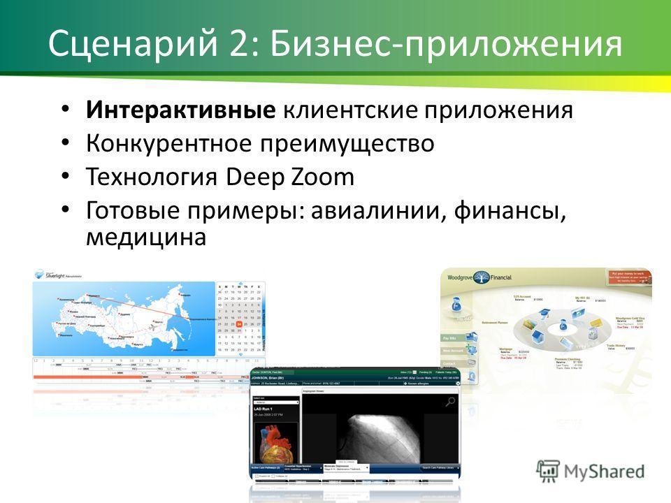 Сценарий 2: Бизнес-приложения Интерактивные клиентские приложения Конкурентное преимущество Технология Deep Zoom Готовые примеры: авиалинии, финансы, медицина