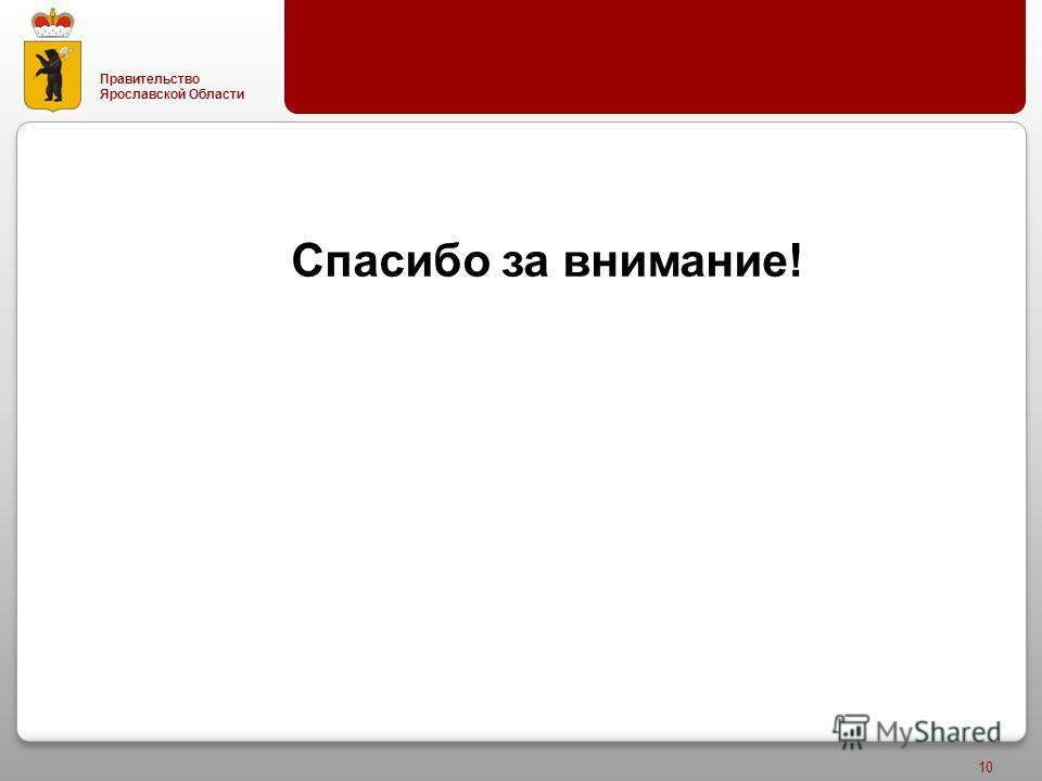 Правительство Ярославской Области 10 Спасибо за внимание!