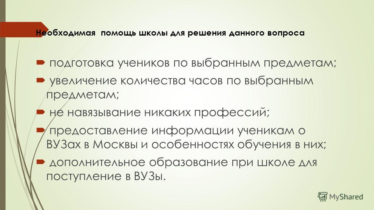 Необходимая помощь школы для решения данного вопроса подготовка учеников по выбранным предметам; увеличение количества часов по выбранным предметам; не навязывание никаких профессий; предоставление информации ученикам о ВУЗах в Москвы и особенностях