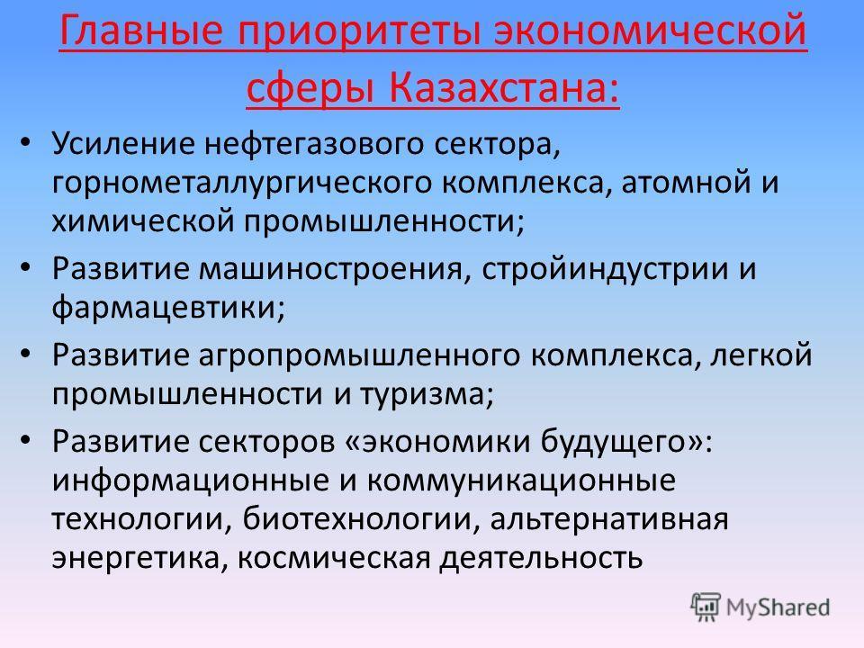 Главные приоритеты экономической сферы Казахстана: Усиление нефтегазового сектора, горнометаллургического комплекса, атомной и химической промышленности; Развитие машиностроения, стройиндустрии и фармацевтики; Развитие агропромышленного комплекса, ле