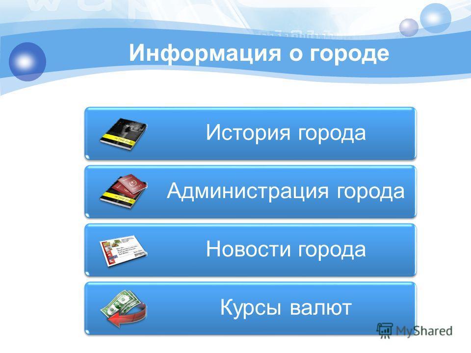 Информация о городе История города Администрация города Новости города Курсы валют