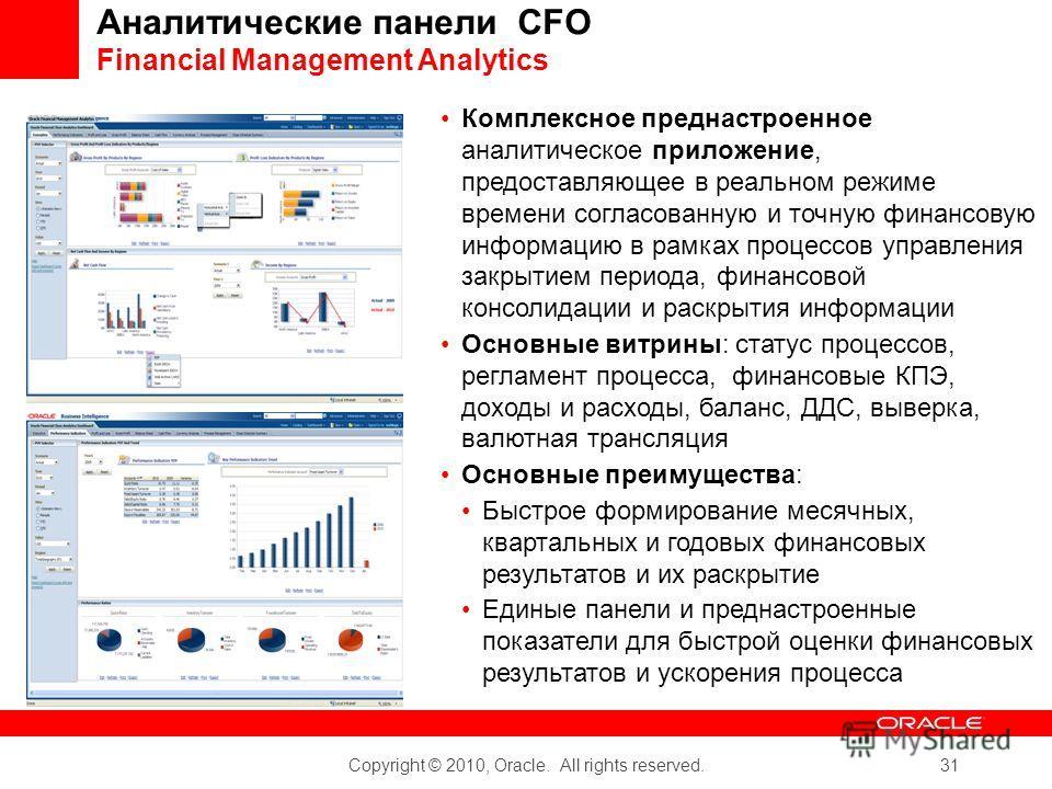 Copyright © 2010, Oracle. All rights reserved. 31 Комплексное преднастроенное аналитическое приложение, предоставляющее в реальном режиме времени согласованную и точную финансовую информацию в рамках процессов управления закрытием периода, финансовой