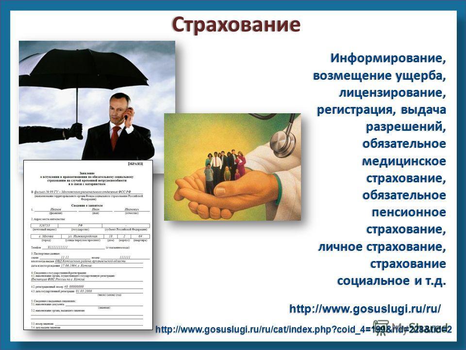 Информирование, возмещение ущерба, лицензирование, регистрация, выдача разрешений, обязательное медицинское страхование, обязательное пенсионное страхование, личное страхование, страхование социальное и т.д. http://www.gosuslugi.ru/ru/ http://www.gos