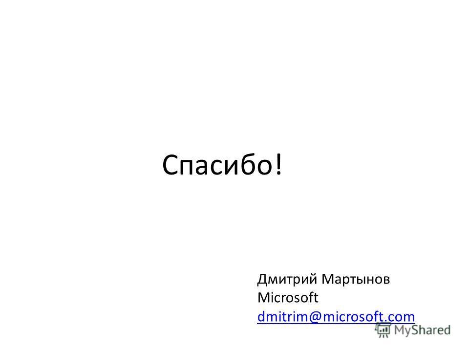 Дмитрий Мартынов Microsoft dmitrim@microsoft.com dmitrim@microsoft.com Спасибо!