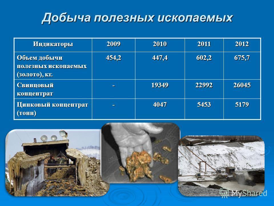 Добыча полезных ископаемых Индикаторы2009201020112012 Объем добычи полезных ископаемых (золото), кг. 454,2447,4602,2675,7 Свинцовый концентрат -193492299226045 Цинковый концентрат (тонн) -404754535179