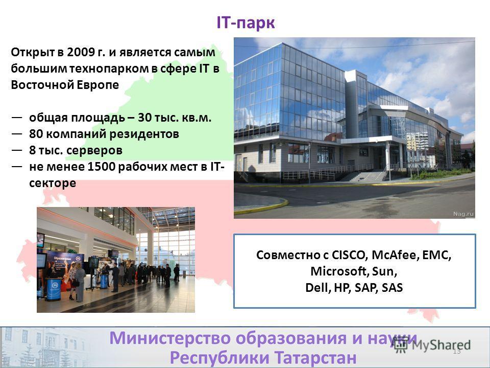 IT-парк Открыт в 2009 г. и является самым большим технопарком в сфере IT в Восточной Европе общая площадь – 30 тыс. кв.м. 80 компаний резидентов 8 тыс. серверов не менее 1500 рабочих мест в IT- секторе Совместно с CISCO, McAfee, EMC, Microsoft, Sun,