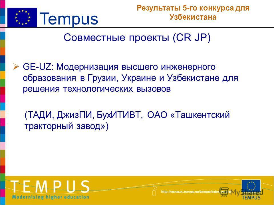 http://eacea.ec.europa.eu/tempus/index_en.php Совместные проекты (CR JP) UZWATER: Программа магистратуры по науке об окружающей среде и устойчивому развитию с упором на управление водными ресурсами для системы высшего образования Узбекистана (НУУз, Т