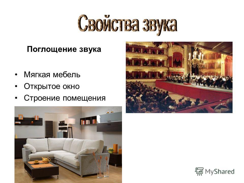 Поглощение звука Мягкая мебель Открытое окно Строение помещения