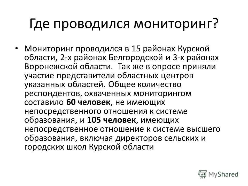 Где проводился мониторинг? Мониторинг проводился в 15 районах Курской области, 2-х районах Белгородской и 3-х районах Воронежской области. Так же в опросе приняли участие представители областных центров указанных областей. Общее количество респондент