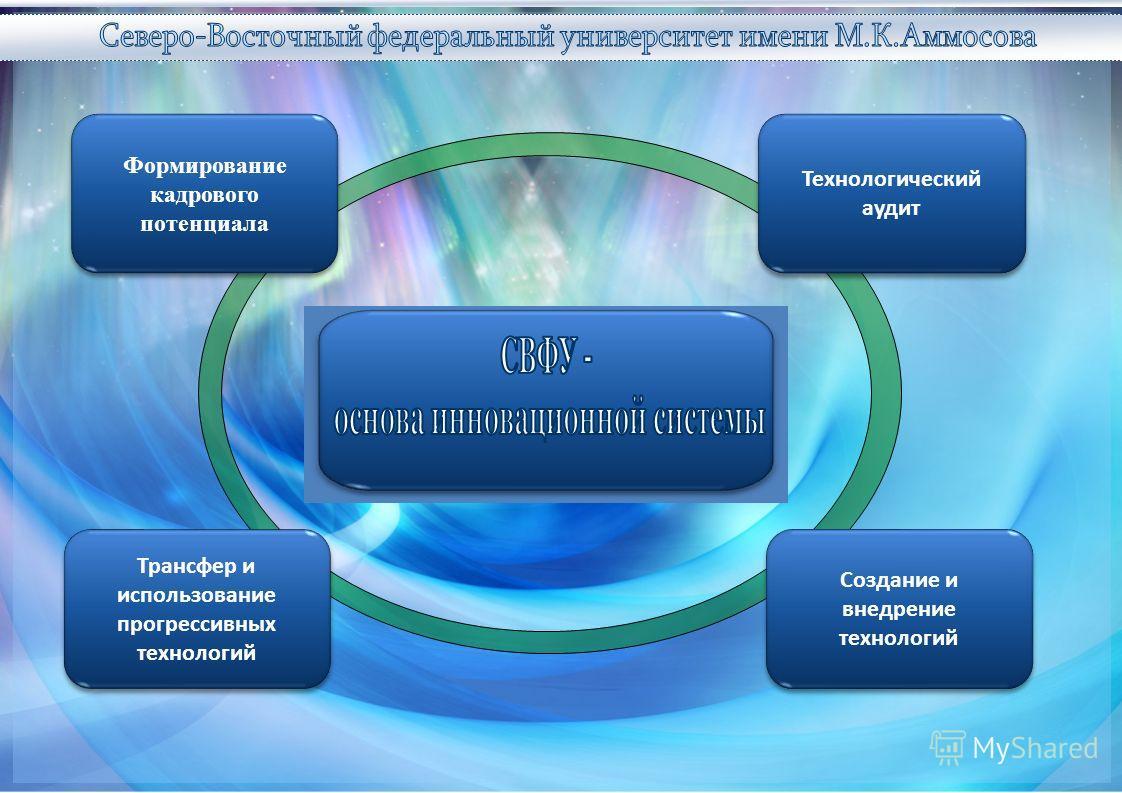 Трансфер и использование прогрессивных технологий Создание и внедрение технологий Формирование кадрового потенциала Технологический аудит