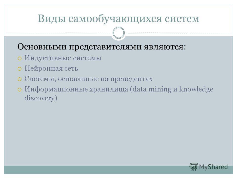Виды самообучающихся систем Основными представителями являются: Индуктивные системы Нейронная сеть Системы, основанные на прецедентах Информационные хранилища (data mining и knowledge discovery)